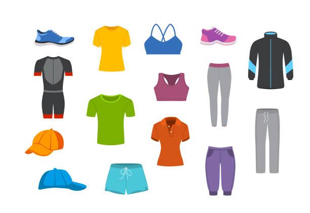 스포츠 피트 니스 의류 그래픽 설정 - 바지 의복 stock illustrations