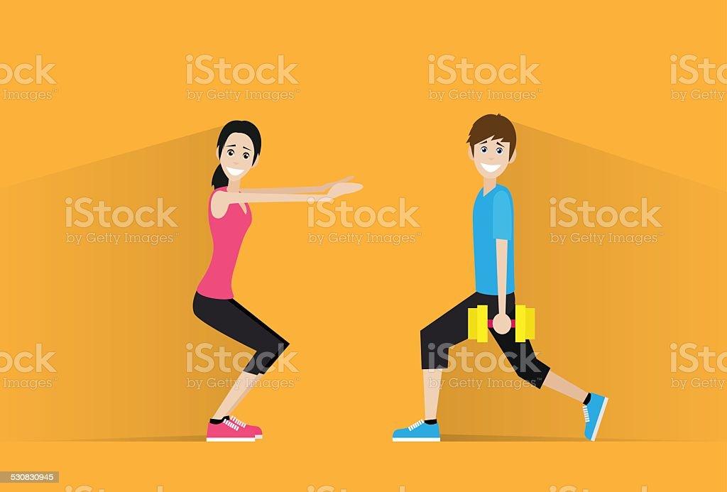 sport fitness couple man dumbbell woman exercise vector art illustration