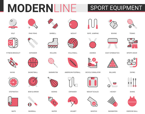Sport fitness equipment red black flat line icon vector illustration set with sportswear, exercise gym item, football baseball badminton tennis game collection