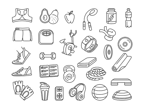 Sport, fitness, functional training thin line doodle icons