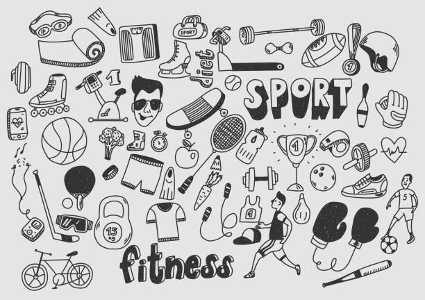 sport fitness zdrowy styl życia doodle ręcznie rysowane. - bazgroły rysunek stock illustrations