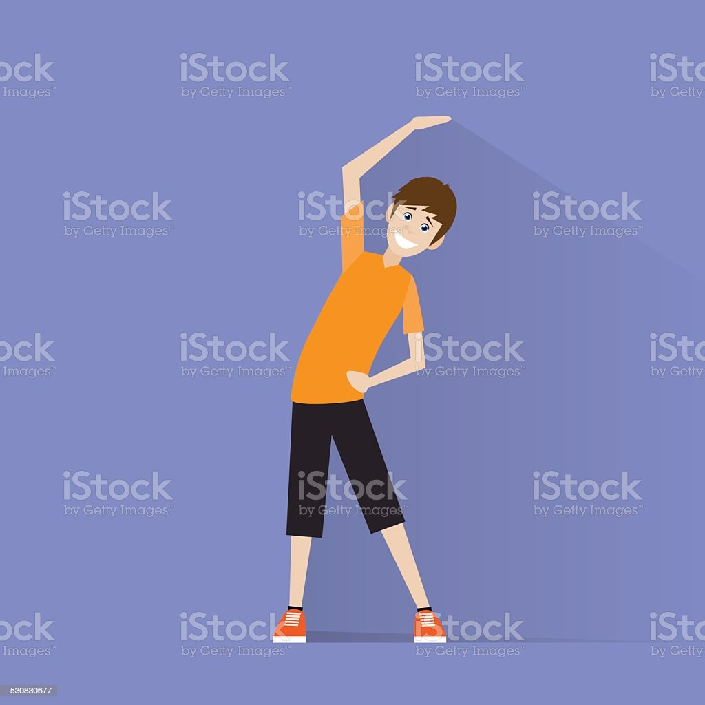 sport fitness man exercise workout flat icon vector vector art illustration