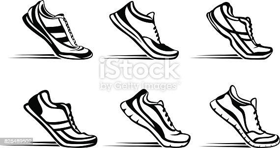Sport fitness running silhouette shoes in start position set