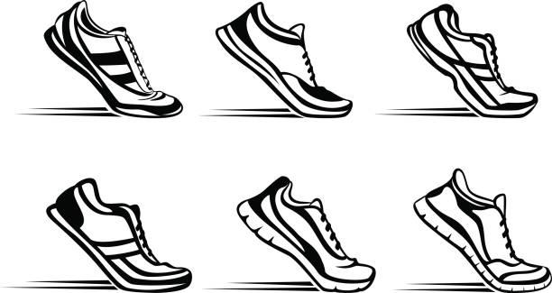 sportowe buty fitness do biegania sylwetka w zestawie pozycji startowej - but sportowy stock illustrations