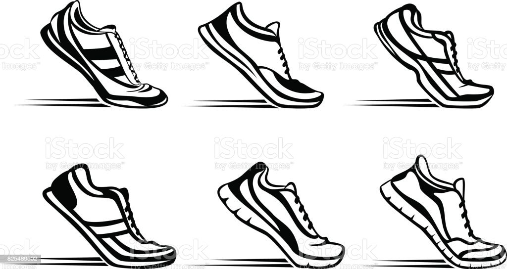 Sport fitness running silhouette shoes in start position set vector art illustration