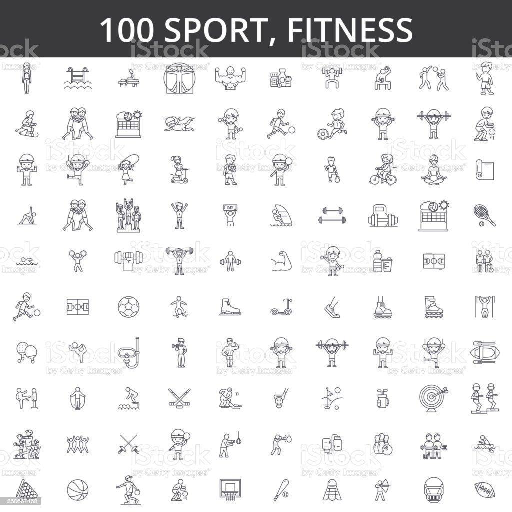 Deporte, fitness, futbol, karate, fútbol, hockey, estilo de vida saludable, culturismo, boxeo, béisbol, baloncesto, esquí, natación los iconos de la línea, señales. Concepto de vector de ilustración. Movimientos editables - ilustración de arte vectorial