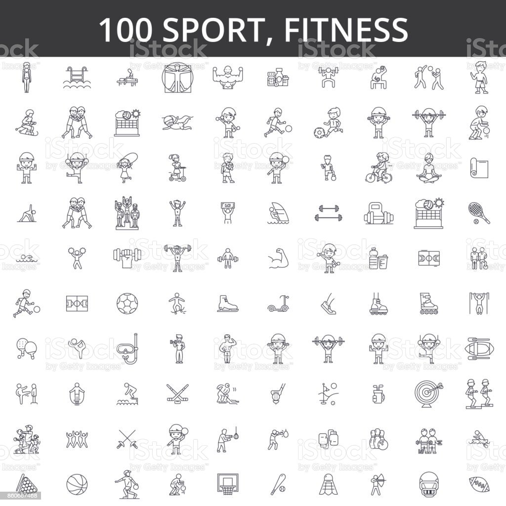 Sport, fitness, soccer, karate, football, hockey, healthy lifestyle, bodybuilding, boxing, baseball, basketball, skiing, swimming line icons, signs. Illustration vector concept. Editable strokes vector art illustration