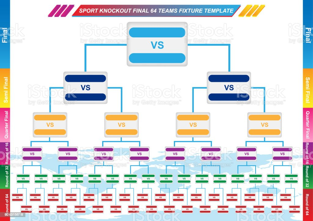 Sport Fixture And Result Template For Final Round 64 Teams Knockout ...