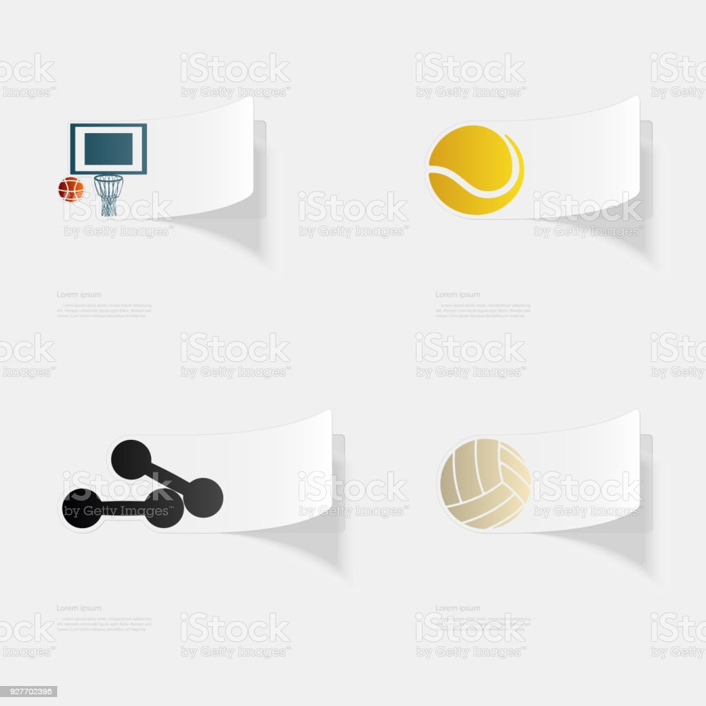 Sport. Flat sticker with shadow on white background vector art illustration