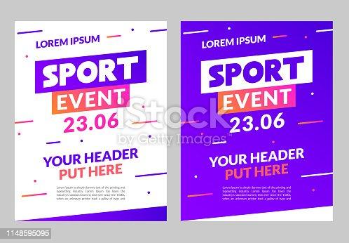 Sport flyer design banner poster. Sport event template brochure for match championship promotion.