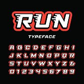 Sport font. Vector alphabet with tail effect letters and numbers