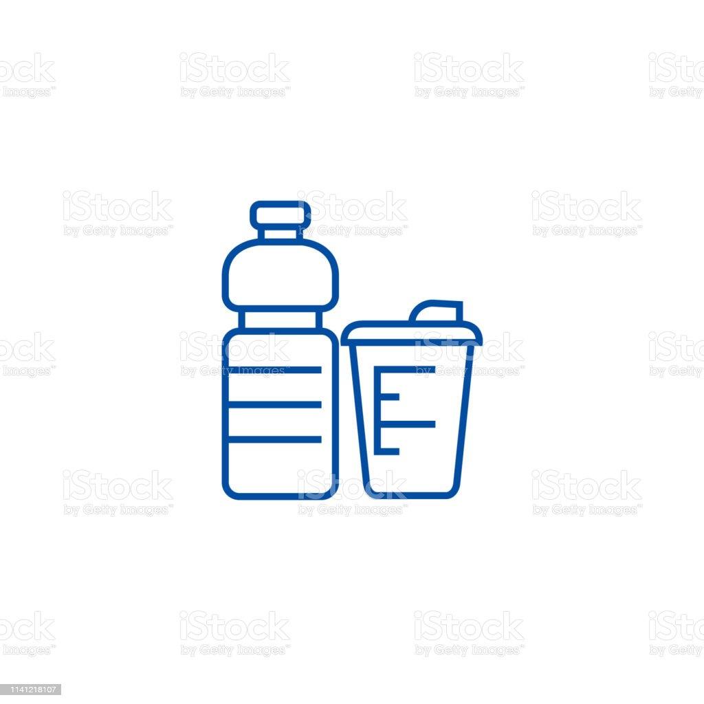 Sport food, fitness food line concept icon. Sport food, fitness food...
