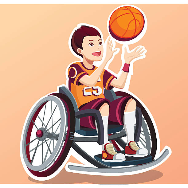 sport for children with disabled activity. - 車椅子スポーツ点のイラスト素材/クリップアート素材/マンガ素材/アイコン素材