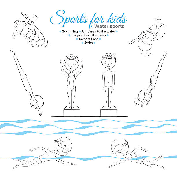 ilustrações de stock, clip art, desenhos animados e ícones de desporto para crianças - jump pool, swimmer