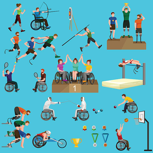 sport for people with prosthesis, physical activity and competition  invalid - 車椅子スポーツ点のイラスト素材/クリップアート素材/マンガ素材/アイコン素材