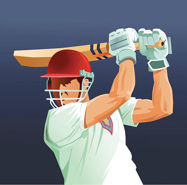 ilustraciones, imágenes clip art, dibujos animados e iconos de stock de partido de críquet, el deporte bateador primer plano - críquet