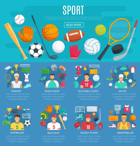 stockillustraties, clipart, cartoons en iconen met sport spel poster sjabloon met sporting apparatuur - sportartikelen