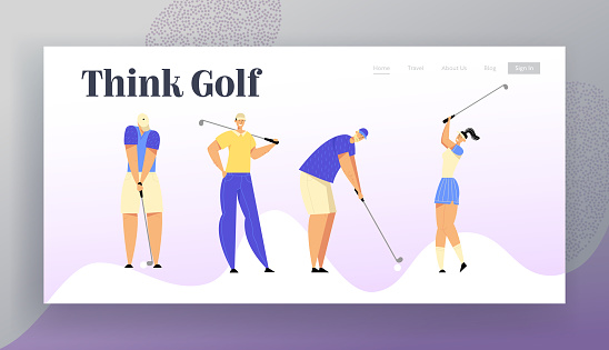 Sport Game, Tournament, Summer Luxury Recreation. Website Landing Page, Group of People in Sports Uniform Playing Golf with Professional Equipment, Web Page. Cartoon Flat Vector Illustration, Banner