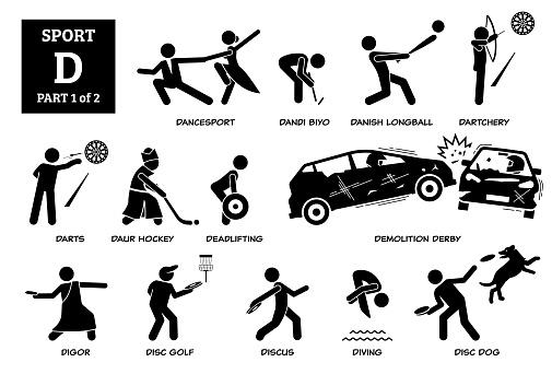 Sport games alphabet D vector icons pictogram.