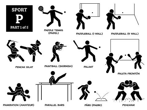 Paddle tennis, padel, paddleball, pencak silat, paintball skirmish, palant, paleta fronton, pankration amateur, parallel bars, park paerk, and pehlwani.