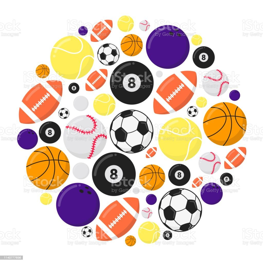 d0fab92221c Juegos de deporte pelotas de diseño de estilo plano de dibujo de vector  aislado sobre fondo