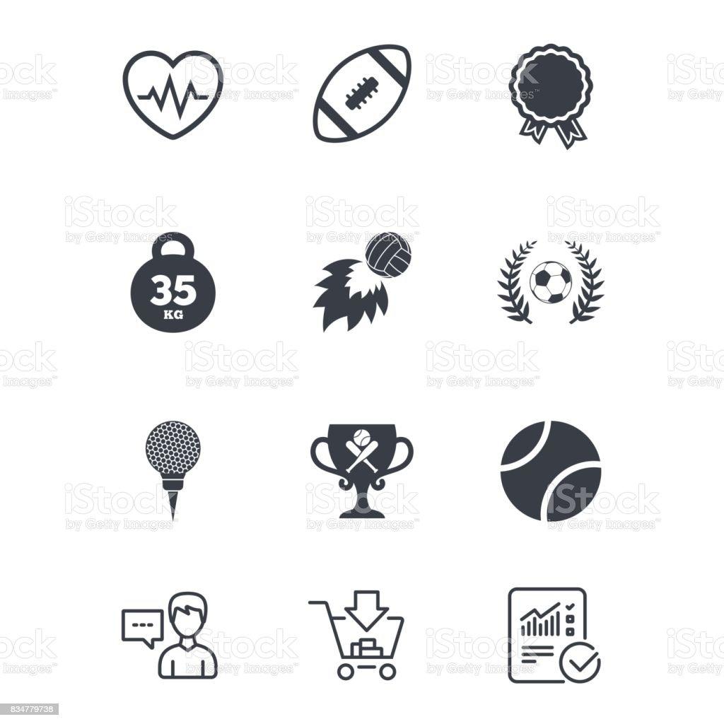 Sport games, fitness icon. Football, golf. vector art illustration