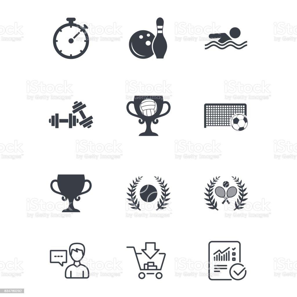 Sport games, fitness icon. Football, tennis. vector art illustration