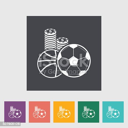 Sport games. Single flat icon on the button. Vector illustration.