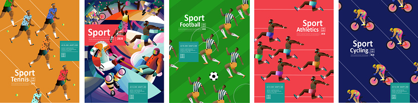 Sport games! Vector illustrations of athletes, tennis, football, running, jumping, athletics and cycling. Drawings for poster, banner and background.