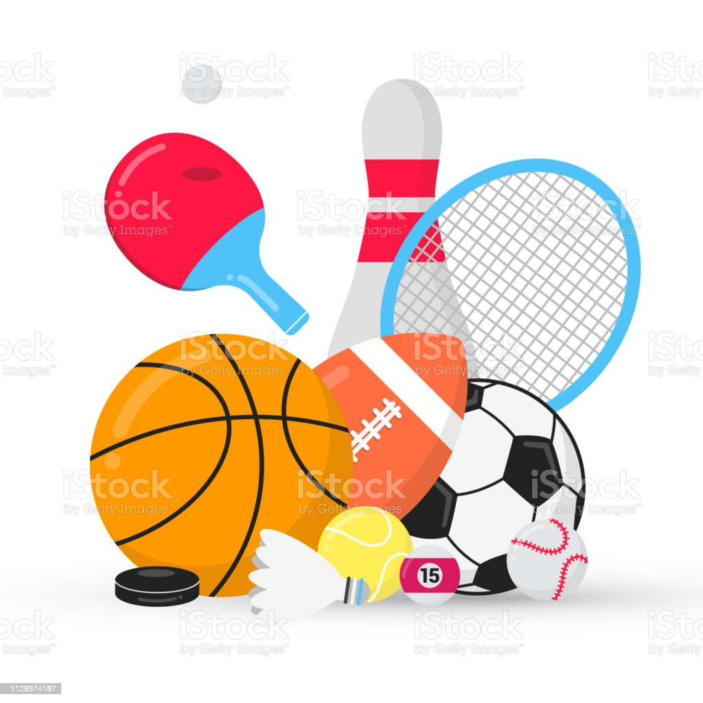 Sport gaming composition with balls - soccer, football, basketball....