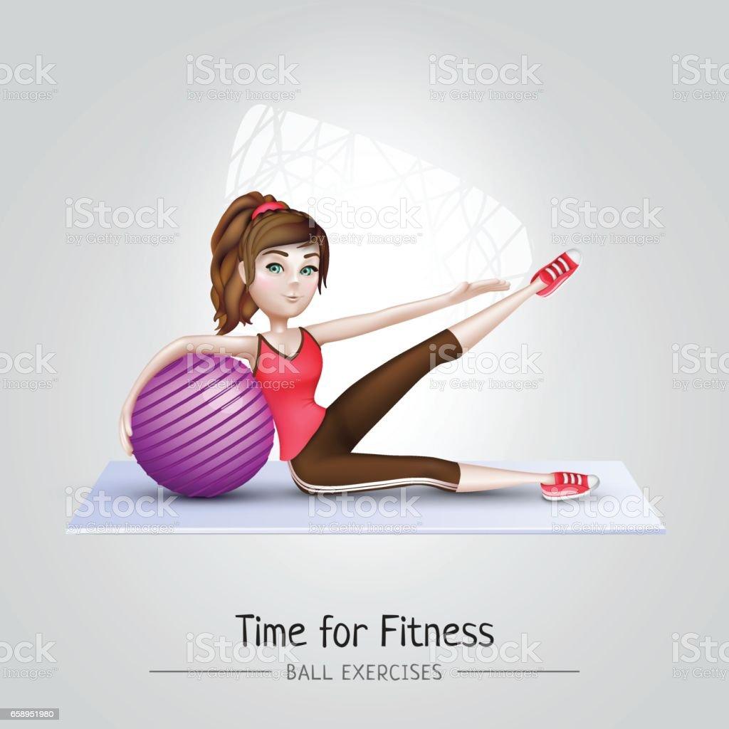 sport fille faire des exercices de gym avec ballon de fitness