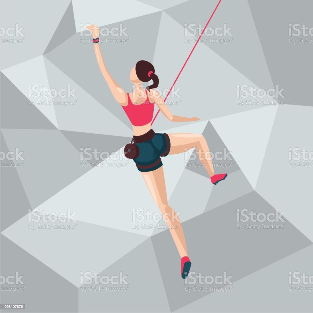 クライミング壁のスポーツ少女。漫画キャラのイラスト。背面図。 ベクターアートイラスト