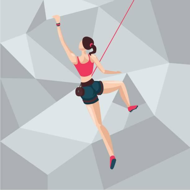sport girl on a climbing wall. cartoon character illustration. back view. - rock climbing stock illustrations, clip art, cartoons, & icons