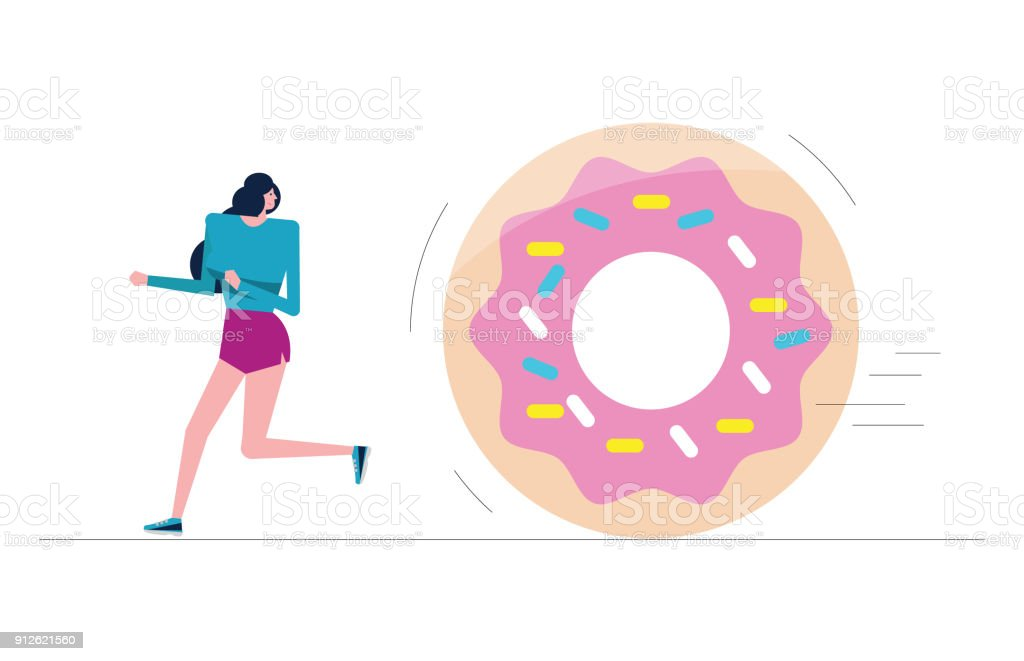 Sport girl run away from big donut. vector art illustration