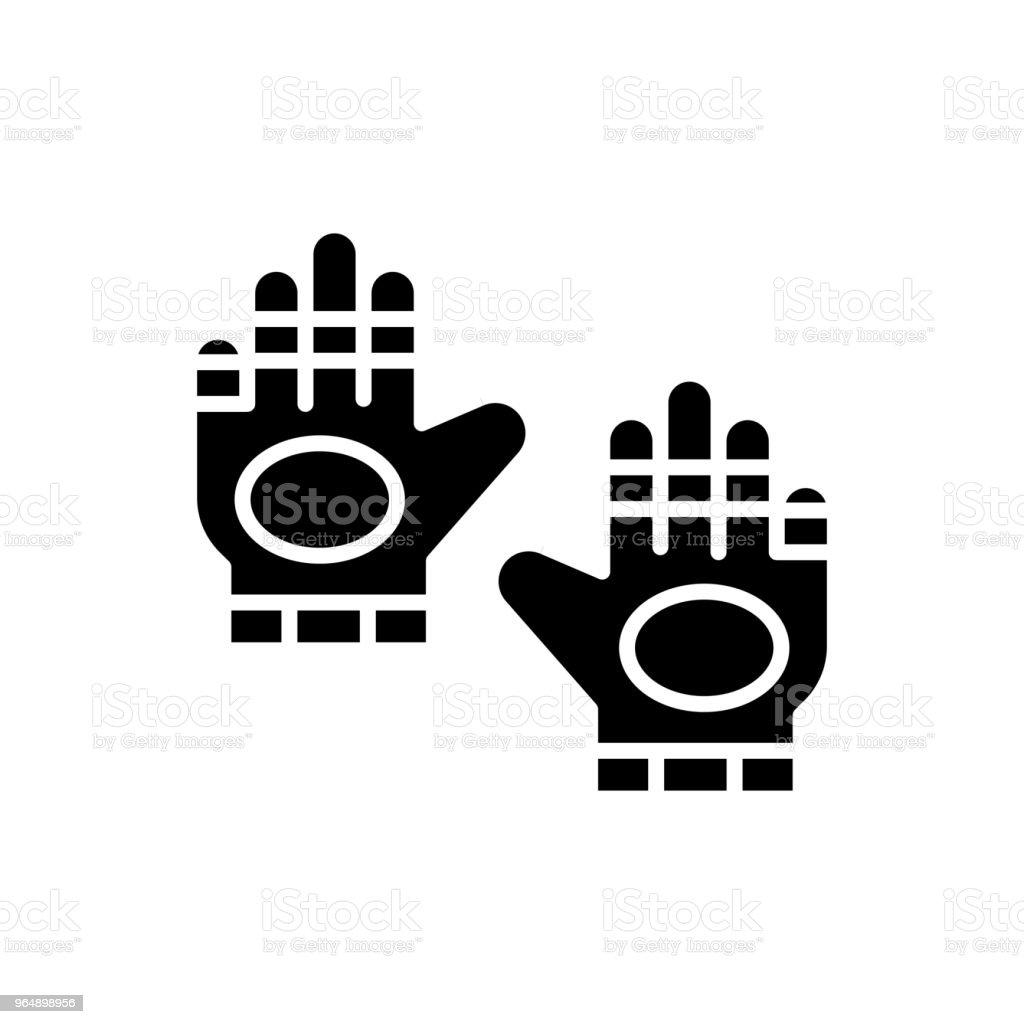 Sport gloves black icon concept. Sport gloves flat  vector symbol, sign, illustration. - Royalty-free Aggression stock vector