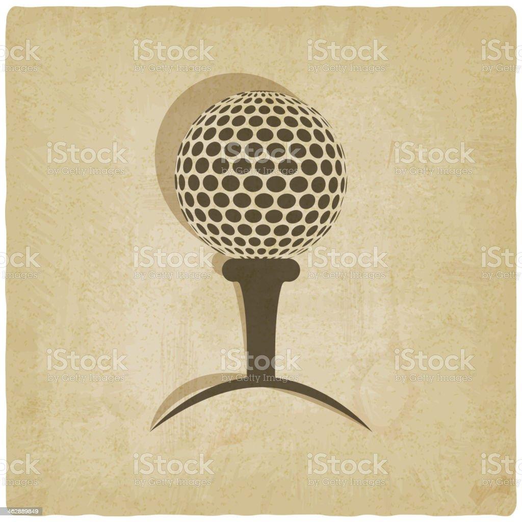 sport golf logo old background vector art illustration