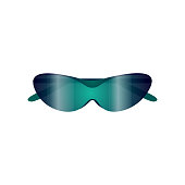 Sport gradient blue green sunglasses for beach sport and cyclism. Cartoon style. Vector illustration on white background