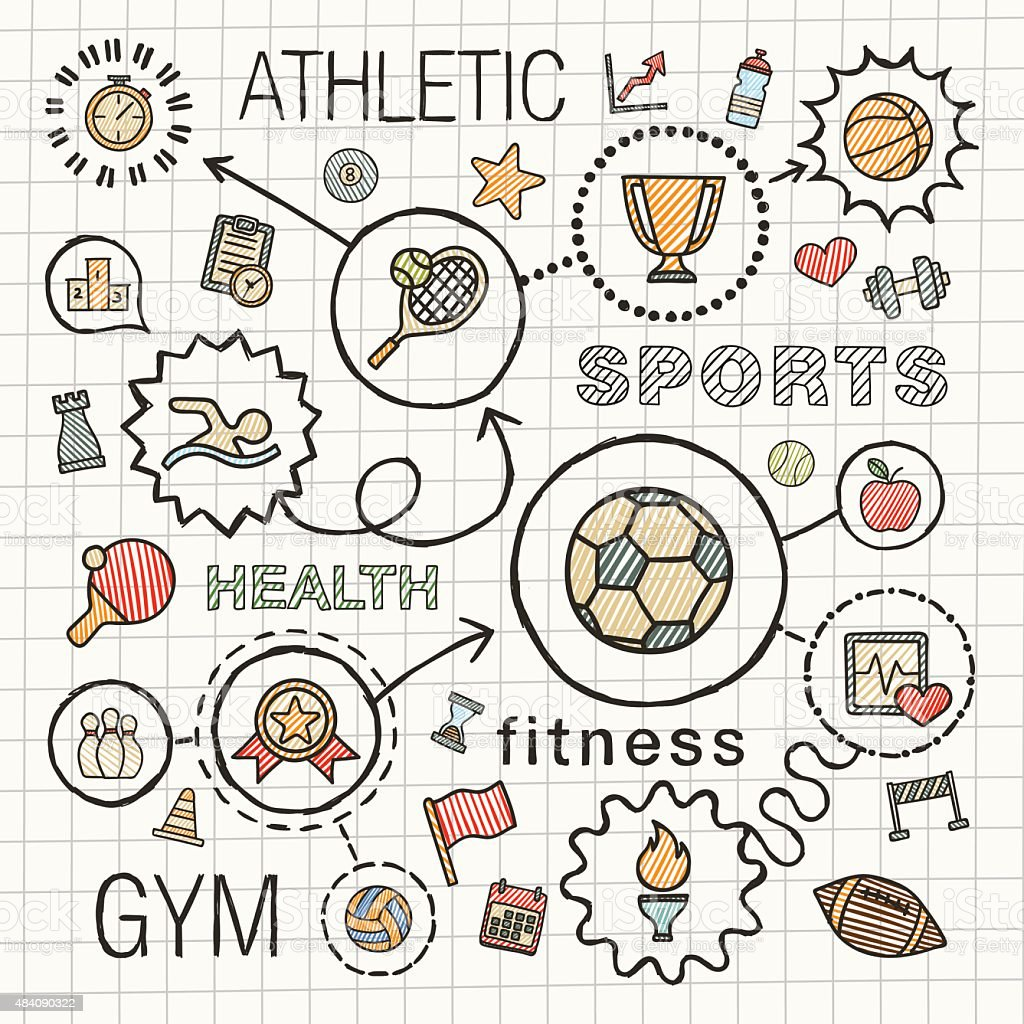 Sport hand draw integrated color icons. Vector sketch infographic illustration vector art illustration
