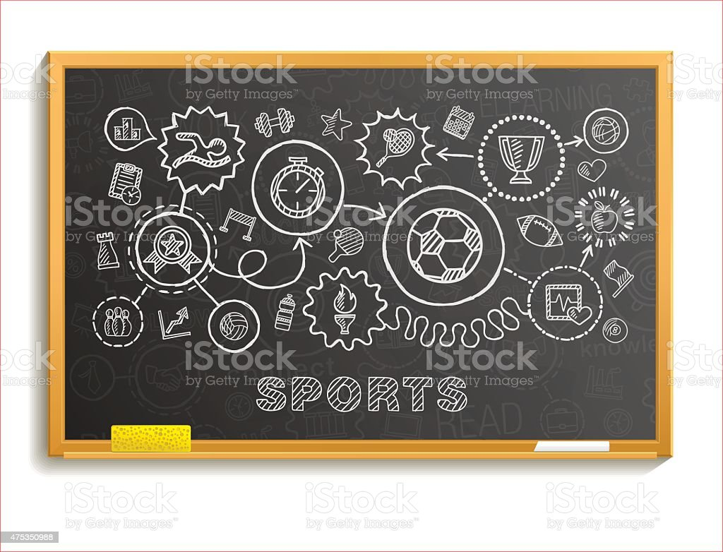 Sport hand draw integrated icons set on school board. vector art illustration