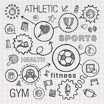 Sport hand draw integrated icons set. Vector sketch infographic illustration