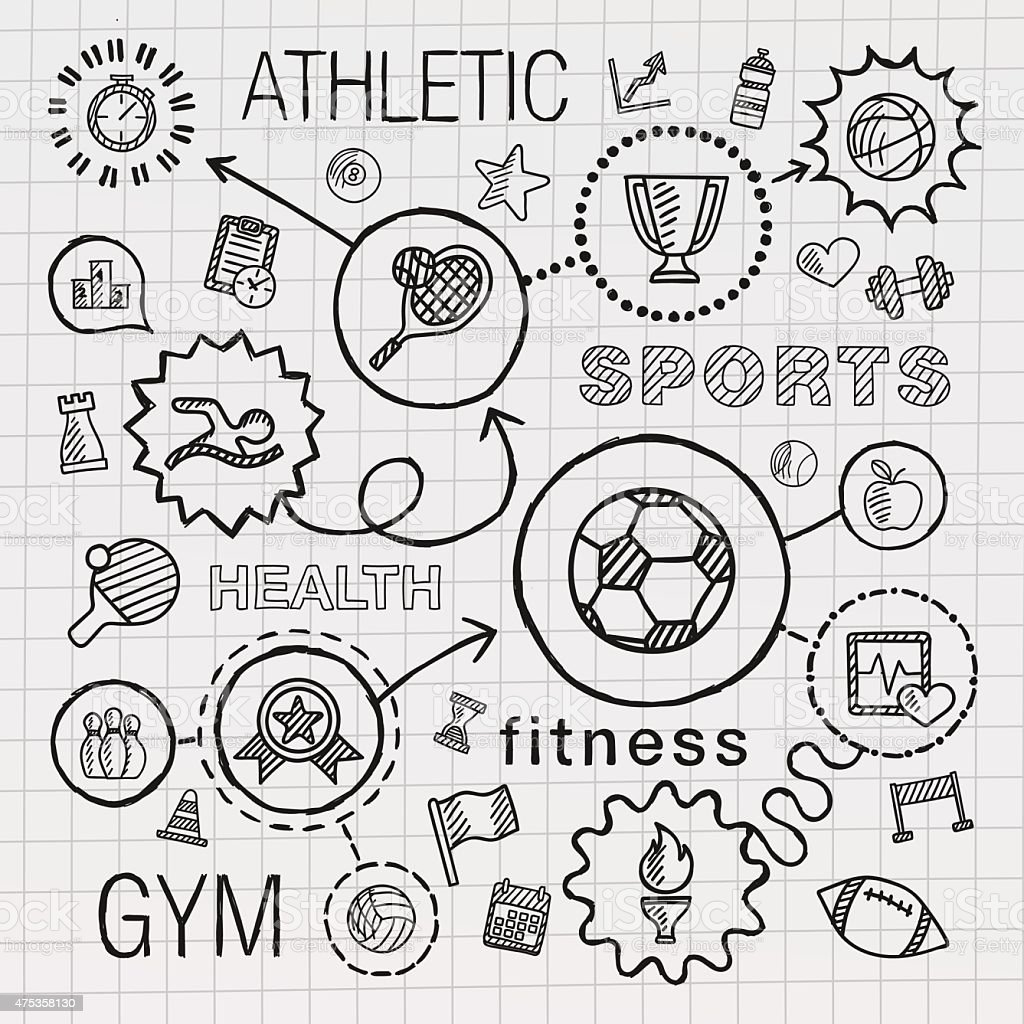 Sport hand draw integrated icons set. Vector sketch infographic illustration vector art illustration