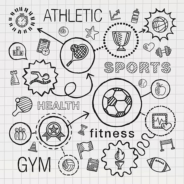 sport hand draw integrated icons set. vector sketch infographic illustration - 競技運動 幅插畫檔、美工圖案、卡通及圖標