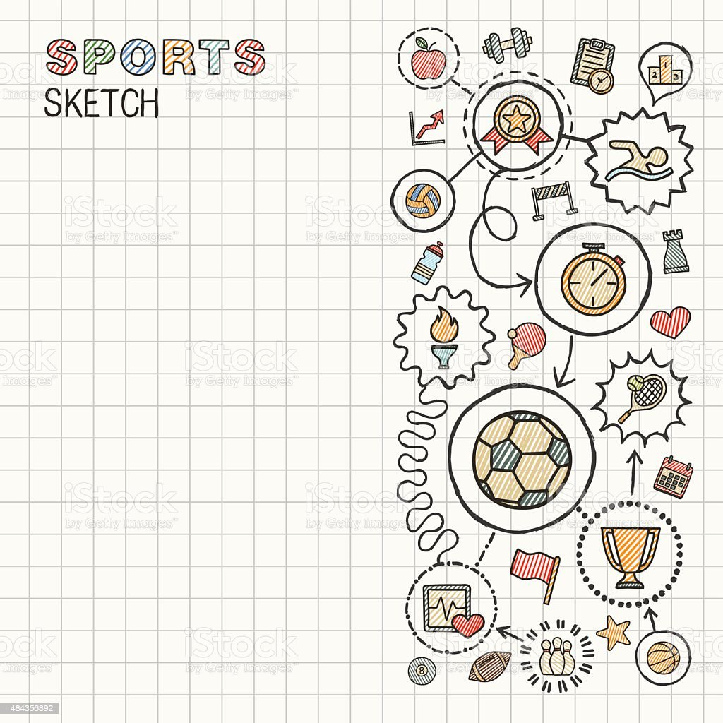 Sport hand draw integrated vector sketch icons set on paper. vector art illustration