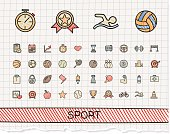 Sport hand drawing line icons. Vector doodle pictogram set: color pen sketch sign illustration on paper with hatch symbols: baseball, football, tennis, bicycle, pool, soccer, rugby, fitness.