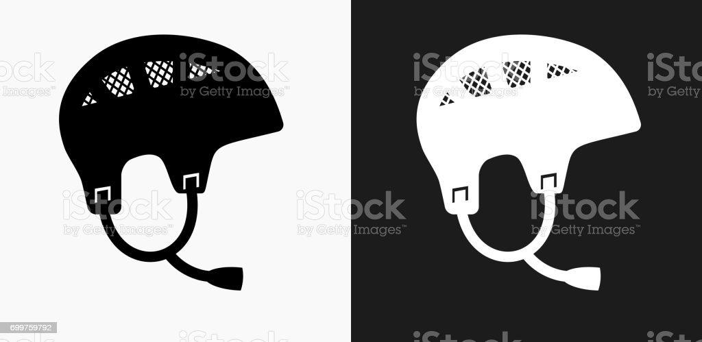 Fondo Con Iconos De Deporte: Ilustración De Deporte Casco Icono En Blanco Y Negro