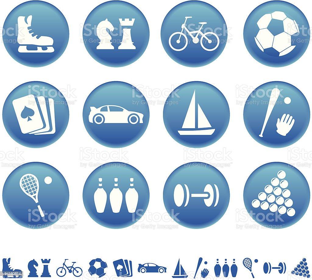 Sport & hobby icons vector art illustration