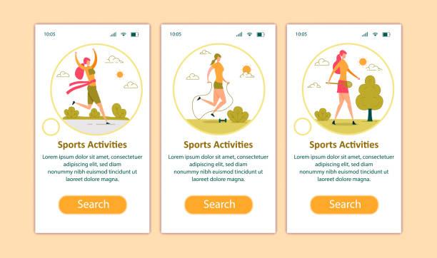illustrazioni stock, clip art, cartoni animati e icone di tendenza di sport hobby, weight loss mobile app page screen - digital marathon