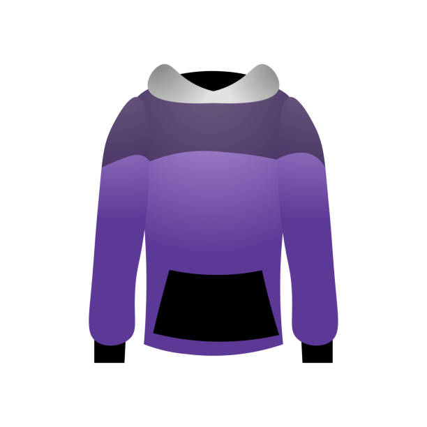 Sport hoodie colorful violet design with black grey style Sport hoodie colorful violet design with black grey style for outdoor running. Cartoon style. Vector illustration on white background hot pockets stock illustrations
