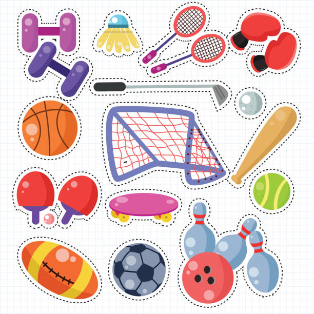 Sport Icon Doodle Sticker Patches Set vector art illustration