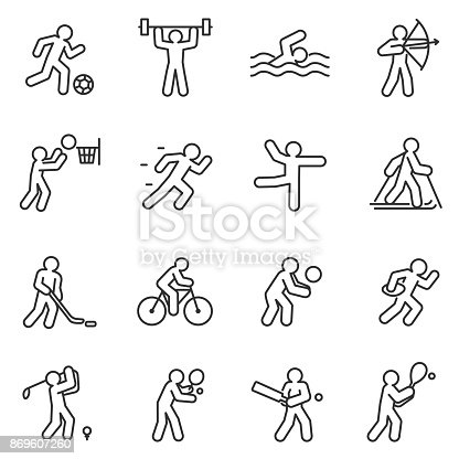 Sport, icon set. Different kinds of sports. linear design